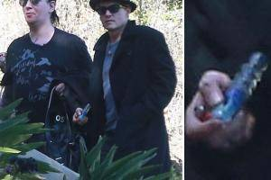 Johnny Depp and Marilin Manson Smoking Glass Bowl in LA